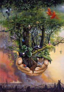 aarde boom met hand